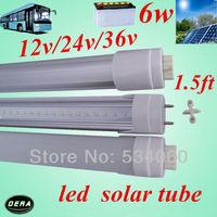 Free shiping  1.5FT 6w  t8 led tube   0.45m  450mm  DC 12V 24V 36v  6W T8 LED Tube 600LM  4pcs/lot
