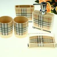 Plaid stripe bath room five pieces set acrylic set lovers cups toothbrush hand sanitizer bottle