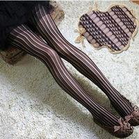 Sexy Vintage Pantyhose Vertical Stripe Lace Jacquard Fishnet Stockings Free Shipping