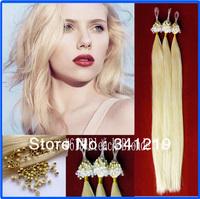 Alibaba express Nano Ring Micro Loop / beads Hair Straight Remy peruvian virgin hair 0.5g 0.75g 1g/s 100s/pack  Bleach Blonde