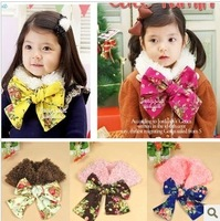 2014 new (5 pieces/lot) wholesale 2014 winter female child scarf muffler scarf plush thermal scarf fashion bow scarf