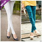Promotion! E080 New Fashion Women Leggings Embossing Gold Velvet Elastic Slim Pants(China (Mainland))