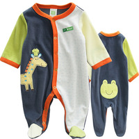 2013 New Free Shipping ,4pcs/lot,Baby Boys Lovely Giraffe & Frog Model Long Sleeve Romper,Baby Boys Autumn Jumpsuit,IN STOCK