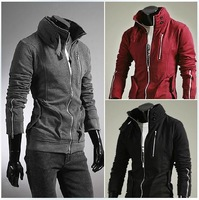 Free delivery of 2013 new copper zipper cardigan hoodies Mens and thickened brushed
