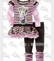5 sizes New children's clothing sets kids girls minnie cartoon stripped top tops  + pants girl 2 pcs set XZQ