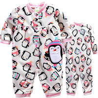 4pcs/lot, 2013New Baby Girls Lovely Penguin Model Long Sleeve Romper,Baby Autumn Jumpsuit,IN STOCK,Free Shipping