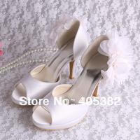 Super Quality Open Toe Wedding Shoes White for Women Satin Pumps Party Evening Pumps Dropship