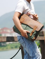 European and American retro canvas messenger bag with leather shoulder messenger bag laptop briefcase!Free shipping