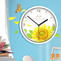 Lovable Secret - Furnishings wall clock sunflower mute quartz clock and watch  free shipping