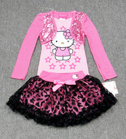 2014 spring/autumn Children Girl's Sets Skirt Suit hello kitty dress baby Clothing sets shirt +skirt girls baby wear