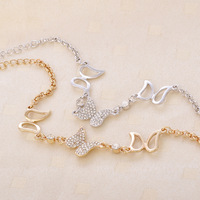 Accessories fashion sweet butterfly women's crystal bracelet alloy gold plated