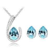 Accessories set austria crystal jewelry gorgeous u drop necklace earrings 2 piece set
