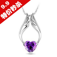 Crystal accessories jewelry heart wings pendant female necklace