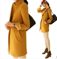 Korean Woolen Overcoat , 2013 Women's Autumn and Winter wool Coat Medium-long  Free Shipping