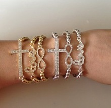 New Arrive For Women 2013 Shiny Imitation Diamond Temperament Cross Love Numeral 8 3 Piece Bracelet  (Min Order=$10)