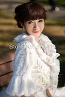 Tempting Wedding Jacket Accessories Bridal Bolero Winter Wraps Coat Stole Faux Fur Fabric  For Brides beige