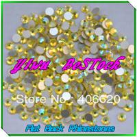 Free Shipping!1440pcs/Lot,citrine ab Flat Back Nail Art Glue On Non Hotfix Rhinestones SS4 SS5 SS6 SS8 SS10 SS12 SS16 SS20