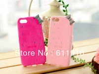 5pcs/lot New Glitter 3D Cute Bow Furry Kitty Case TPU Back Skin for Apple iPhone 4 4S 4G Wholesale and Retail+Free Shipping