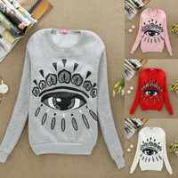 S41 New 2013 Autumn Hoodies Sweatshirt Women Fashion Eye Print Sport Suit Fashion Pullover Fleece Winter Warm Sweatershirts