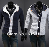 Wholesale - 2013 Fashion Slim Top Designed Casual Jacket For Men Outdoors Overcoat Hoodies Patchwork Color US XS S M L # Y14wy19