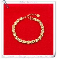 24K Bracelet - MJC2 / Wholesale jewelry 5.5mm Charm bracelet 24K gold plated bracelets,Nickle free antiallergic,free shipping