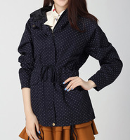Autumn sweet polka dot trench loose plus size with a hood medium-long casual outerwear