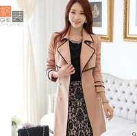 Trench female 2013 spring and autumn outerwear casual slim double breasted trench female