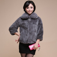 2013 fur high quality short design full leather rabbit goatswool women's outerwear 30-90a