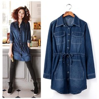 Medium-long denim shirt female 2013 long-sleeve shirt drawstring waist slim denim trench outerwear female