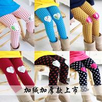 4532 Winter100-140cm Child Girls Kid Warp-Knitted Velvet Dot Legging Pants Trousers,1 lot=5 sizes each color