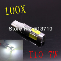 Wholesale 100pcs/lot Free shipping auto light car lamp T10 7.5w car led bulb led wedge bulb 194 168 192 W5W lamp