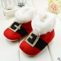 Baby red shoes winter warm girl's boy christmas boots toddler xmas cotton boot baby shoe bebe baby first walkers