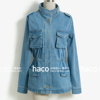 Fashion vintage three-dimensional large pocket tooling stereo slim waist denim outerwear trench cardigan