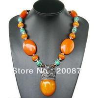 TNL529  Tibetan handmade Resin amulet big pendant necklace,16'',2013 BOHO fashion,Tibet ethnic jewelry