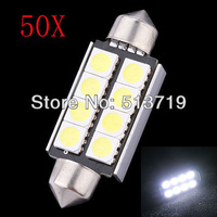 Free shipping 50Pcs 41mm 8 SMD 5050 LED Canbus Festoon Dome Roof Light Lamp Bulb 12V Pure White