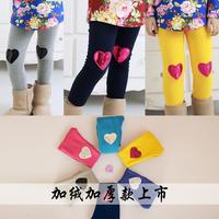 4533 Winter100-140cm Children Girls Kid Warp-Knitted Velvet Knee patches Heart Legging Pants Trousers,1 lot=5 sizes each color