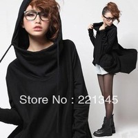 2014!! fashion plus size clothing 100% cotton long-sleeve hooded cloak sweatshirt