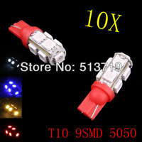 Freeshipping T10 9SMD 5050 Car 194 168 192 W5W LED Light Automobile Bulbs Lamp Wedge Interior Light 35*10