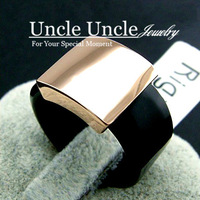 18K Rose Gold Plated Smooth Surface Square Black Acrylic Lady Finger Ring Wholesale