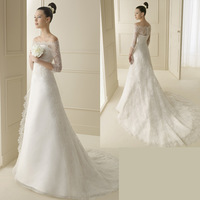 2014 New Arrival Wedding Dress Formal Fashion Elegant Slit Neckline Train Lace Princess Wedding Dresses Spring Autumn And Winter