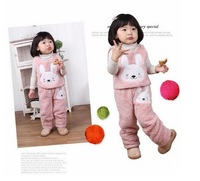 children Autumn winter clothing girl twopiece suit the rabbit embroidery wholesale 5sets/lot Free shipping!
