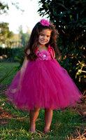 2014 New Designer Hot Pink Knee-length Tutu dress Match Flower Headband Photography Props for Girls Size 2/3/4/5/6/7/8