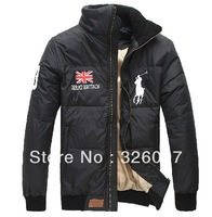 Free shipping British flag POLO men's down jacket coat black and blue PP01