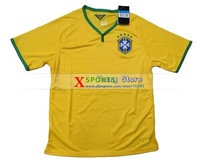 Top thailand quality 2014 Brazil soccer jersey,Free shipping Brazil Football shirts Home Yellow