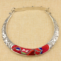 Miao silver miaoxiu women's crescent necklace zodiac pattern chain embroidery silver collar flavor
