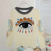 2013 new brand design cotton embroidered eyes sweater women sweater long sleeve knitted sweater pullovers