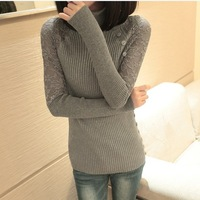 2013 new cotton lace sleeve women sweater warm thick long sleeve knitted turtleneck sweater pullovers