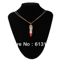 Free shipping,New arrival 18K Gold Plated Hollow Alloy Luxury Crystal Sexy Lipstick Pendant Necklace Sweater Chain For Women