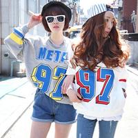 Women Letter Printed Tops Blouse Plain Crewneck Sweat Shirt Long Sleeve Sweater CY0876  Free& Drop Shipping