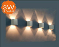 85v ~ 265v  3W  LED wall lighting+ 7 color option+Aluminum finished+3 watt+4pcs/lot + Free shipping